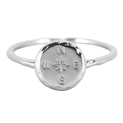 Pura Vida 美國手工 指南針造型銀色戒指