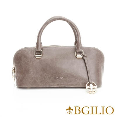 【義大利BGilio】義大利蜡感裂紋牛皮精品手提包-灰色(1944.006A-19)