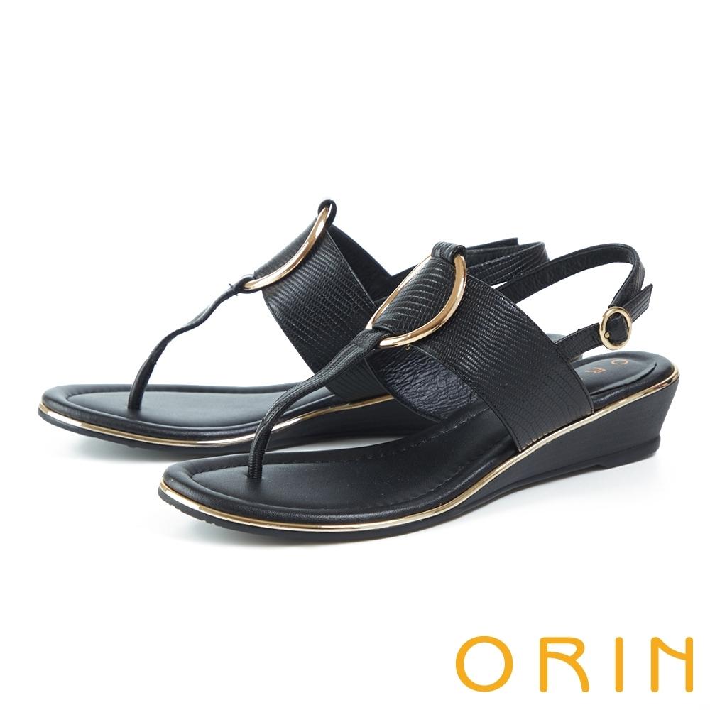 ORIN 皮革金屬圓環飾釦楔型 女 涼鞋 黑色