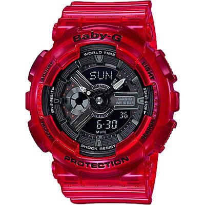 BABY-G 海洋雙顯女錶-珊瑚紅(BA-110CR-4A)/43mm