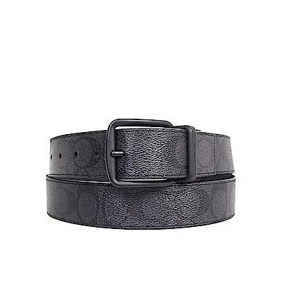 COACH 緹花Logo PVC真皮雙面使用男士針扣皮帶 黑色