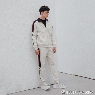 GIORDANO 男裝G-MOTION側邊字母運動束口褲 -21 花紗月巖淺灰