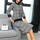 時尚格紋針織氣質兩件式裙套裝L~3XL(共二色)-REKO