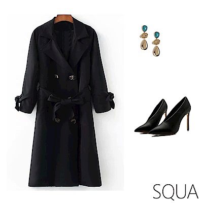 SQUA 雙排扣長版風衣外套 (附腰帶)