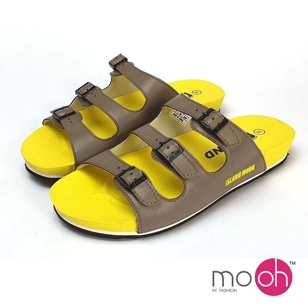 mo.oh 拚色皮帶扣厚底沙灘拖鞋-卡其黃色