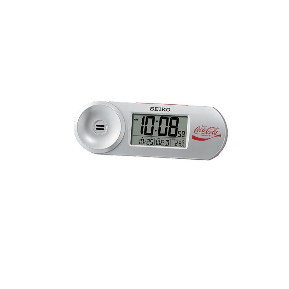 SEIKO 可口可樂聯名 鬧鐘 溫度/日曆 電子鍾(QHL902S)銀/14.4X5cm