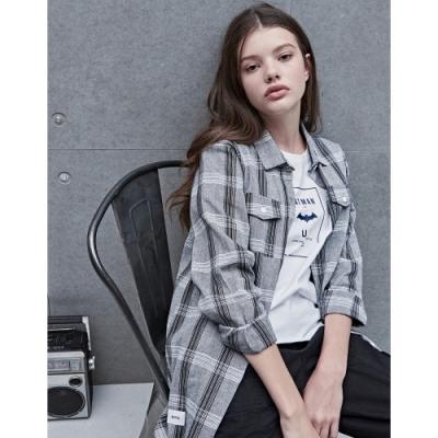 NAVY-格紋長版襯衫-女【VNA009】
