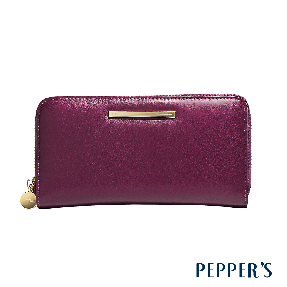 PEPPER`S Raven 牛皮拉鍊長夾 - 胭紫