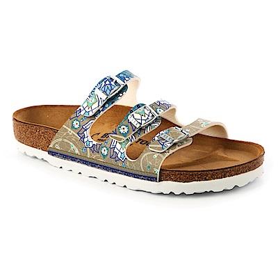 勃肯BIRKENSTOCK 1009810FLORIDA三條復古拖鞋(馬賽克灰)