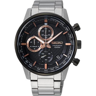 SEIKO精工 CS 城市系列計時手錶(SSB331P1)-黑x銀/42mm