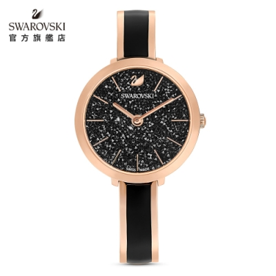 施華洛世奇 CRYSTALLINE DELIGHT 玫金色亮澤黑璀璨腕錶