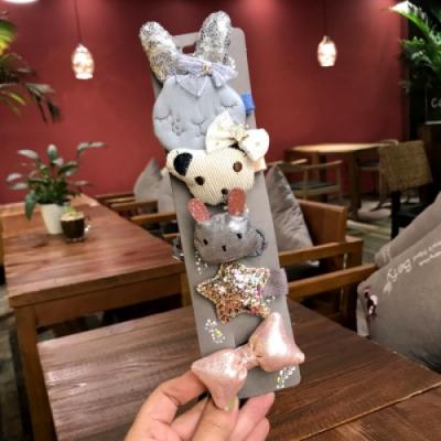 【89 zone】日系兔子頭小熊五角星蝴蝶髮圈/髮束 5 入 (藍灰色)