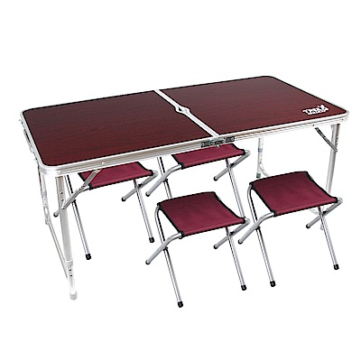 TREE WALKER 露遊聚便攜式鋁合金桌椅組-深木紋