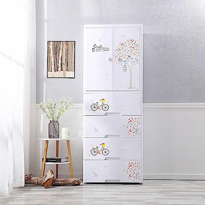 【Mr.box】悠遊自行車 開門式兒童吊掛衣櫃-2門4大抽屜