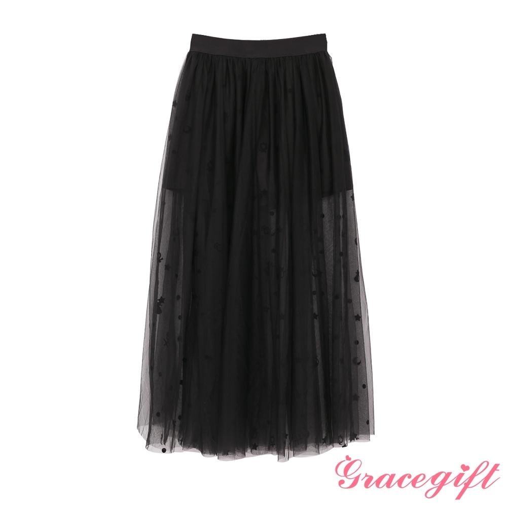 Grace gift-美戰變身器植絨紗裙 黑