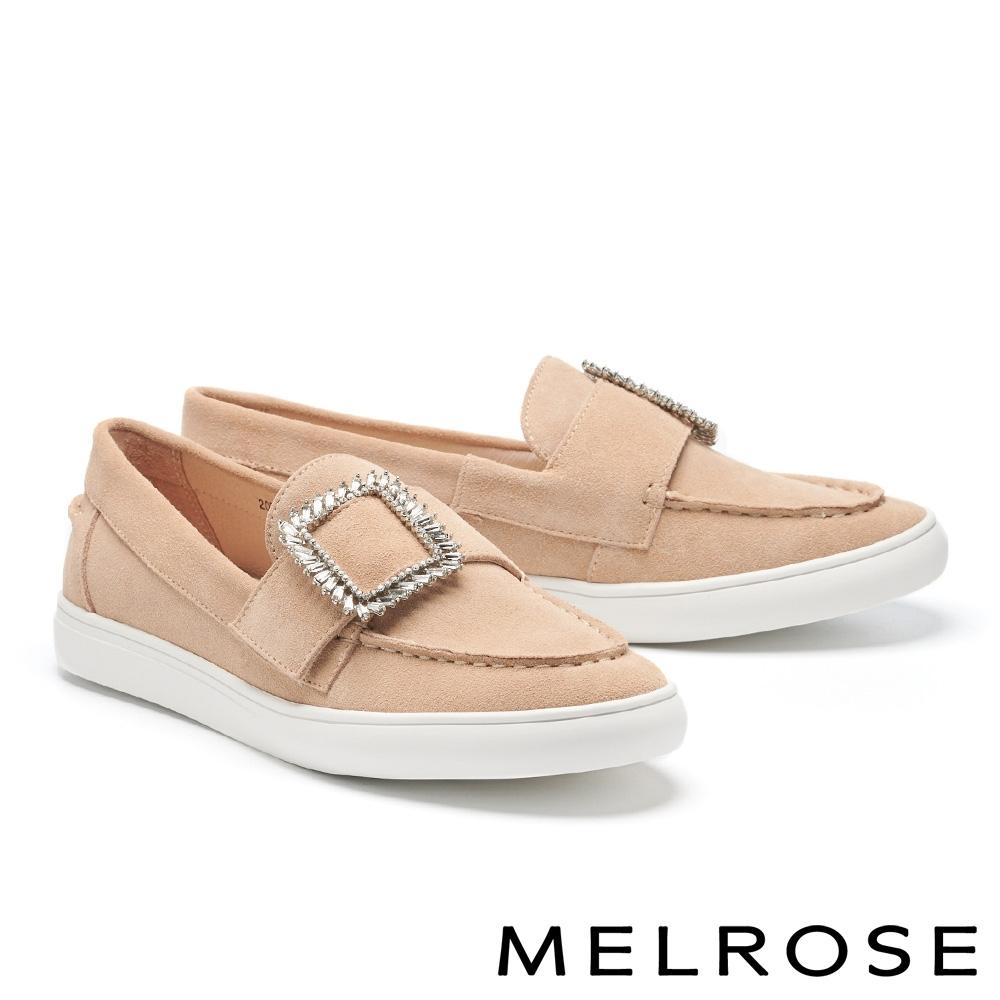 休閒鞋 MELROSE 質感時尚方鑽飾全真皮厚底休閒鞋-米