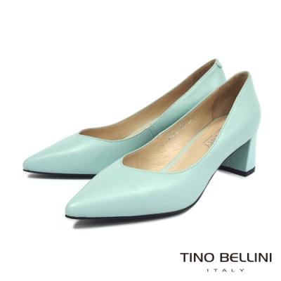 Tino Bellini春日輕色調V形鞋口全真皮方跟鞋_冰綠