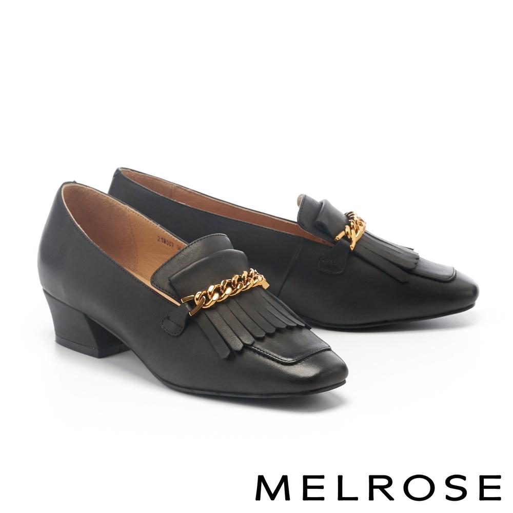 低跟鞋 MELROSE 個性金鏈流蘇全真皮方頭樂福低跟鞋-黑