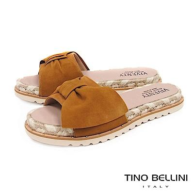 Tino Bellini 西班牙進口蝴蝶紐結雙色麻編厚底涼拖鞋 _ 淺棕