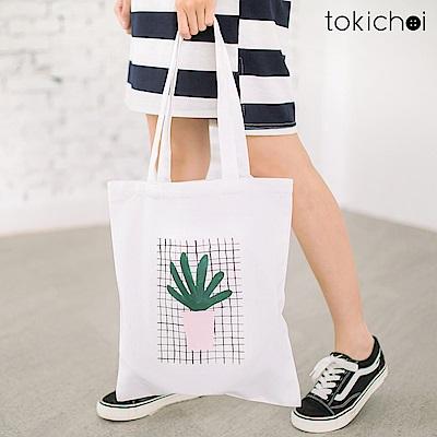 東京著衣 盆栽印花帆布包(共一色)