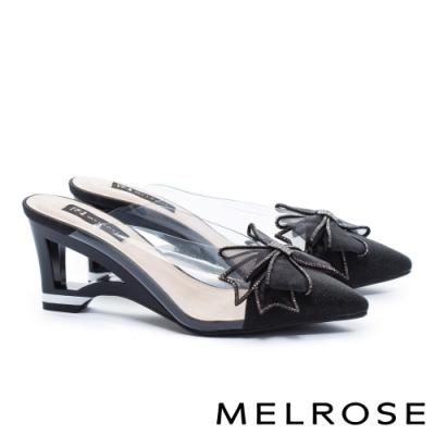 拖鞋 MELROSE 氣質時尚異材質拼接晶鑽蝴蝶結尖頭高跟穆勒拖鞋-黑