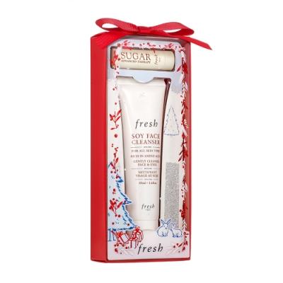 fresh 2020聖誕限量大豆潔面乳50ml+黃糖抗皺活肌修護唇膏2.2g