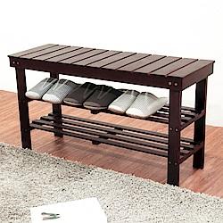 《HOPMA》DIY巧收實木穿鞋椅-寬89 x深30 x高48cm