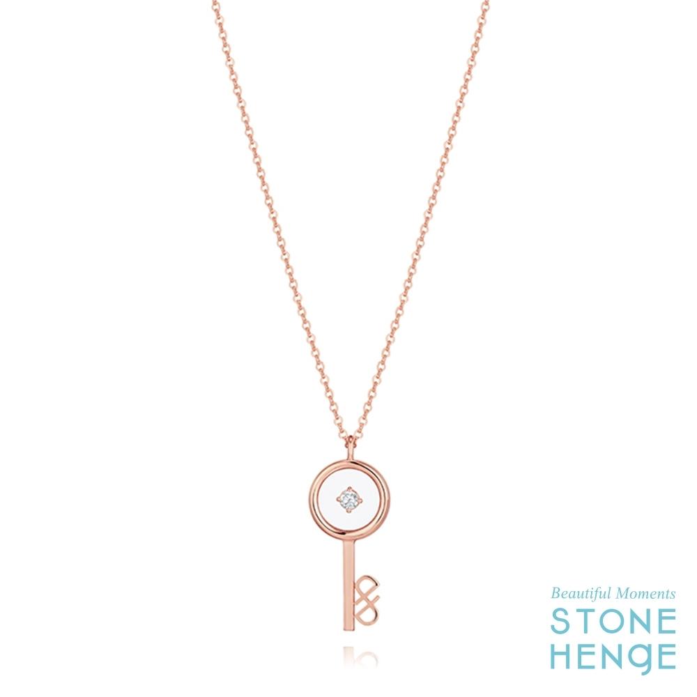 STONEHENGE 斯通亨奇 14K玫瑰金 心鎖造型字母鋯石項鍊