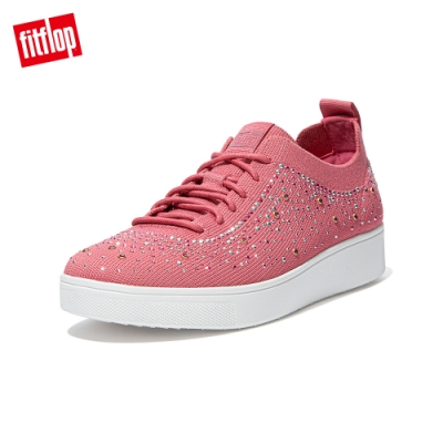 FitFlop RALLY OMBER CRYSTAL KNIT SNEAKERS-繫帶休閒鞋 女(深粉色)