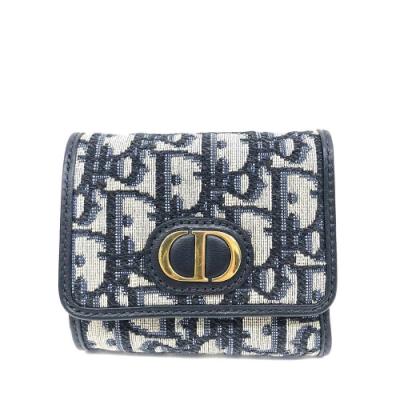 Dior 30 MONTAIGNE經典OBLIQUE緹花布金釦CD小牛皮三折短夾(藍色)