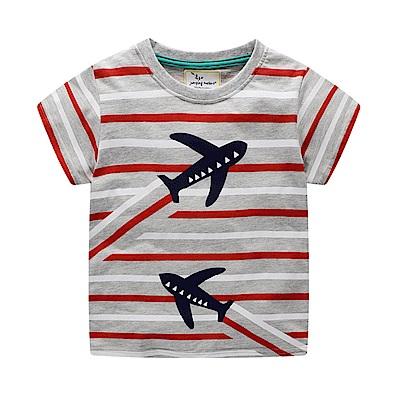 男童 中小童 歐美風格舒柔棉短袖T恤-飛機