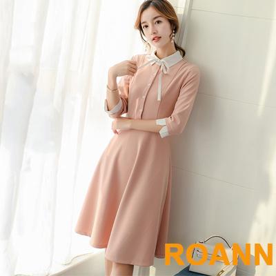 娃娃領純色拼接七分袖中長款洋裝 (共四色)-ROANN