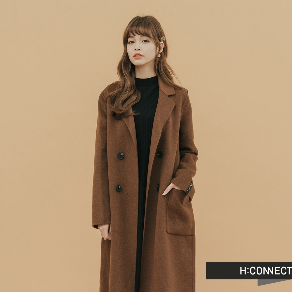 H:CONNECT 韓國品牌 女裝 - 簡約翻領羊毛外套 - 棕