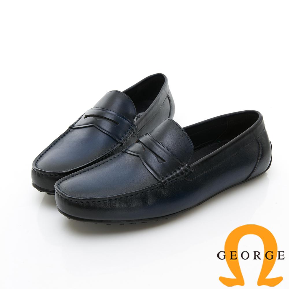 Amber 都會時尚 簡約直套式紳士皮鞋-藍色