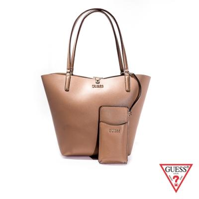 GUESS-女包-經典皮革肩背托特包-淺棕