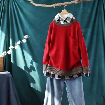 拉絲破洞螺紋圓領毛衣外穿寬鬆針織衫-設計所在