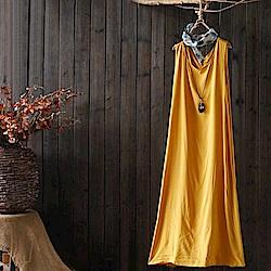 炫色純棉背心裙無袖吊帶內搭長洋裝-設計所在