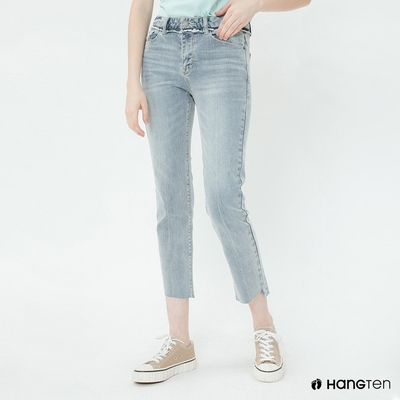 Hang Ten-女裝-經典直筒牛仔七分褲-淺藍