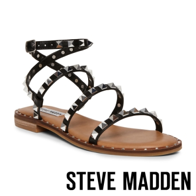 STEVE MADDEN-TRAVEL-前衛搖滾 二字帶繞踝鉚釘涼拖鞋-黑色