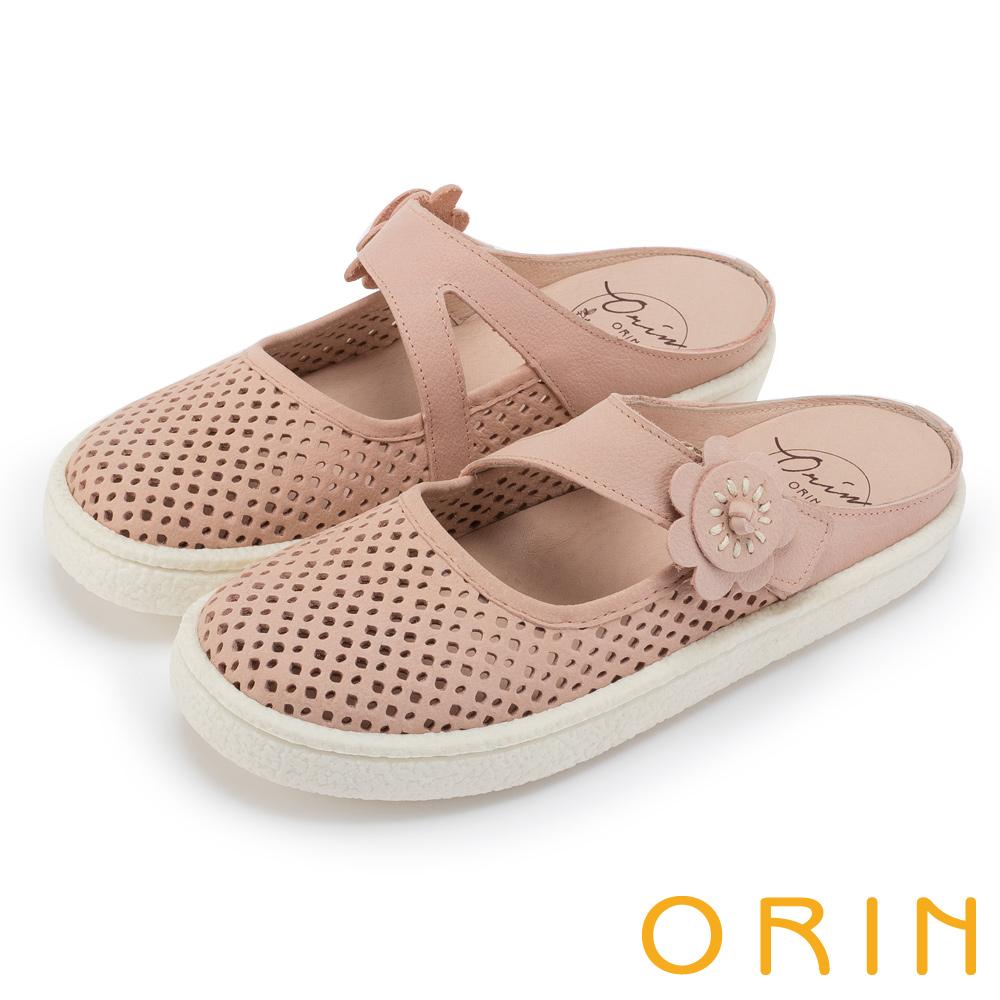 ORIN 甜美舒適 皮革花朵點綴半包式懶人鞋-粉色