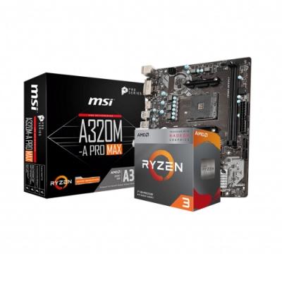 MSI微星 A320M-A PRO MAX + AMD R3 3200G 組合套餐