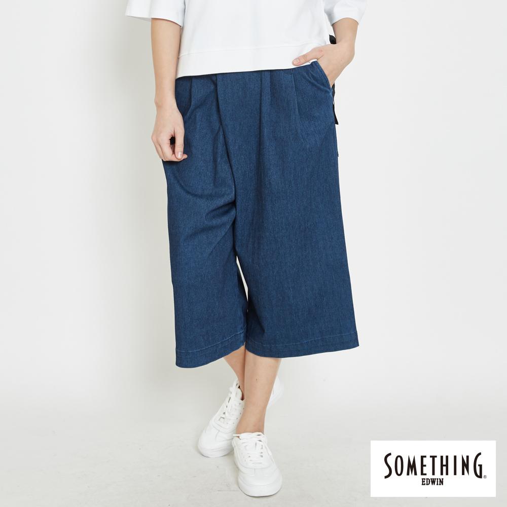 SOMETHING LADIVA打摺寬褲-女-中古藍