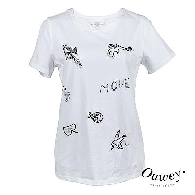 OUWEY歐薇 (白)OUWEY歐薇 童趣刺繡釘珠裝飾百搭棉Tee(白)