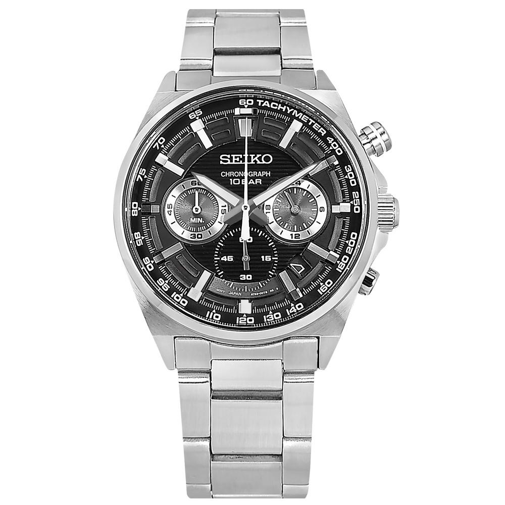 SEIKO 精工 經典條紋 三眼計時 日期 防水100米 不鏽鋼手錶-黑色/41mm