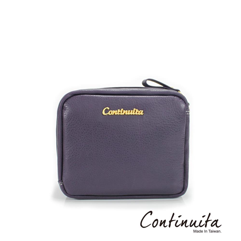 Continuita 康緹尼 頭層牛皮日本愛美女孩方形手拿化妝包(紫色)