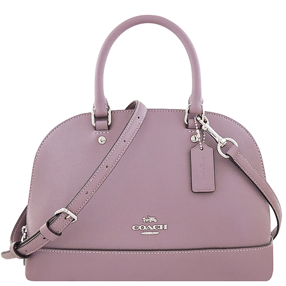 COACH 薰衣草紫色防刮皮革小型手提/斜背兩用包