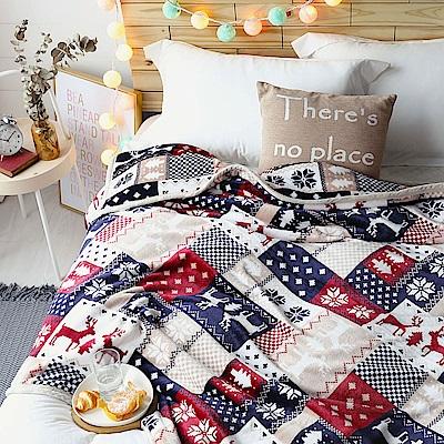 MONTAGUT-法蘭絨保暖雙層毯-麋鹿