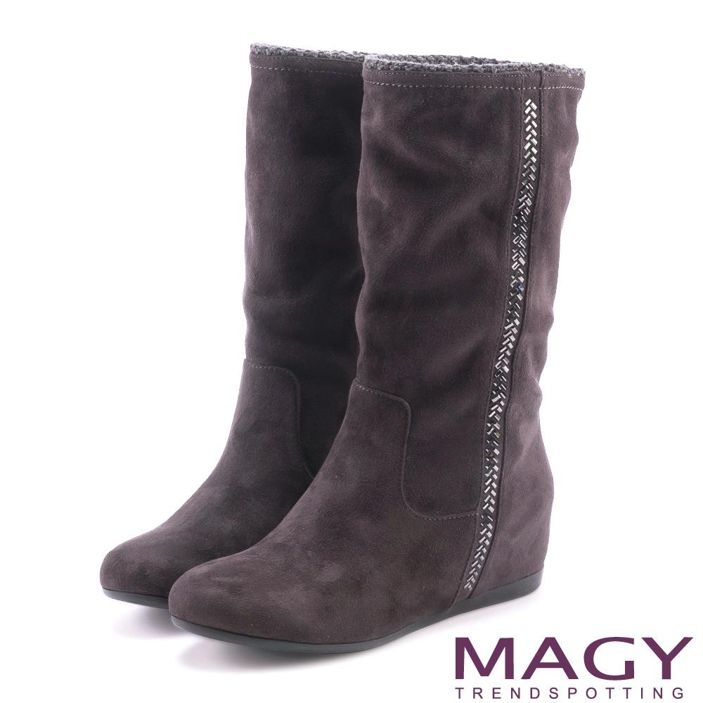 MAGY 暖冬時尚 2WAY內增高毛毛滾邊平底靴-灰色