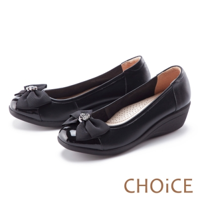 CHOiCE 蝴蝶結鑽飾真皮楔型 女 中跟鞋 黑色