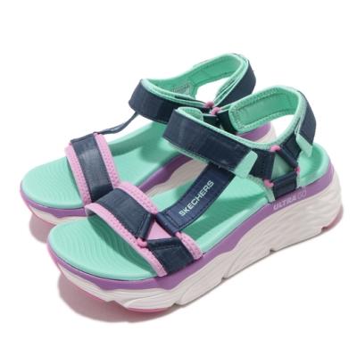 Skechers 涼拖鞋 Max Cushioning 女鞋 厚底 增高 夏日配色 耐磨 魔鬼氈 外出 藍 彩 140125NVMT